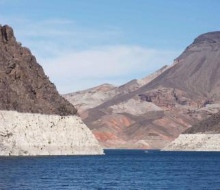 The white bathtub ring along Lake Mead reflects the effects of years of drought in the Colorado River Basin. Source: Water Education Foundation