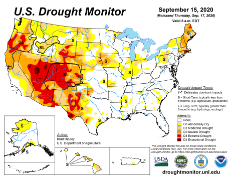 US Drought Monitor September 15, 2020.