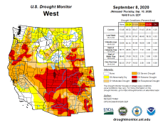 West Drought Monitor September 8, 2020.