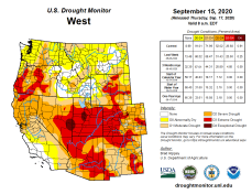 West Drought Monitor September 15, 2020.