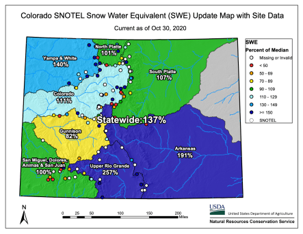 Statewide snowpack map October 30, 2020 via the NRCS.