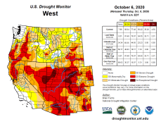 West Drought Monitor October 6, 2020.