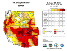 West Drought Monitor October 27, 2020.