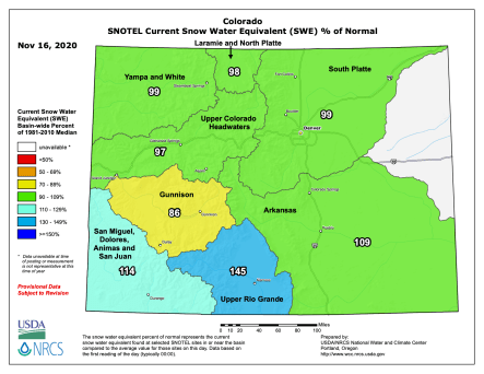 Colorado snowpack map November 16, 2020 via the NRCS.