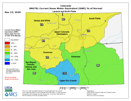 Colorado snowpack basin-filled map November 23, 2020 via the NRCS.