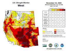 West Drought Monitor November 24, 2020.