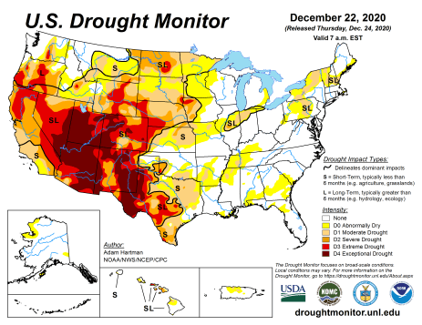 US Drought Monitor December 22, 2020.