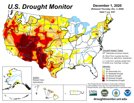 US Drought Monitor December 1, 2020.