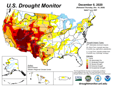 US Drought Monitor December 8, 2020.