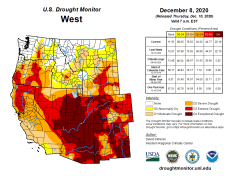 West Drought Monitor December 8, 2020.