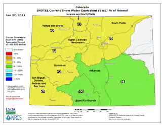 Colorado basin-filled SNOTEL snowpack map January 27, 2021 via the NRCS.