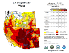 West Drought Monitor January 12, 2021.