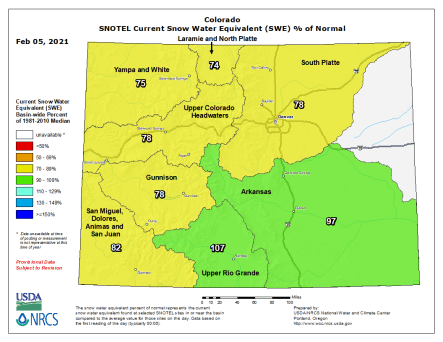 Colorado statewide snowpack basin-filled map February 5, 2021 via the NRCS.
