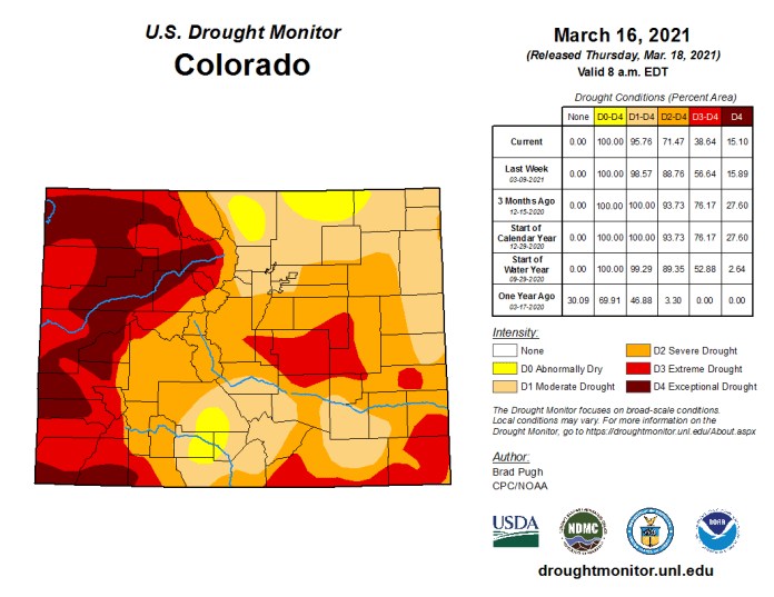 Colorado Drought Monitor March 16, 2021.