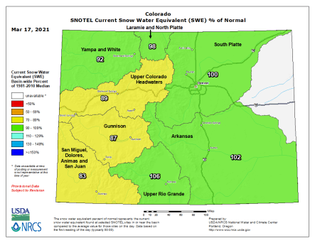 Colorado statewide snowpack basin-filled map March 17, 2021 via the NRCS.