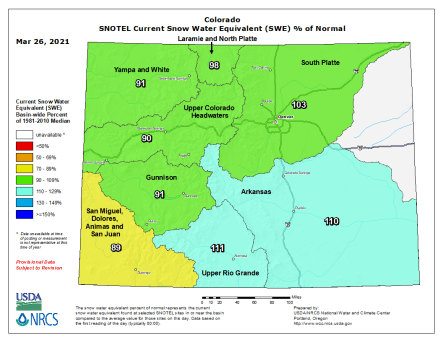 Colorado statewide snowpack basin-filled map March 26, 2021 via the NRCS.