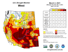 West Drought Monitor March 2, 2021.