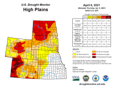 High Plains Drought Monitor April 6, 2021.