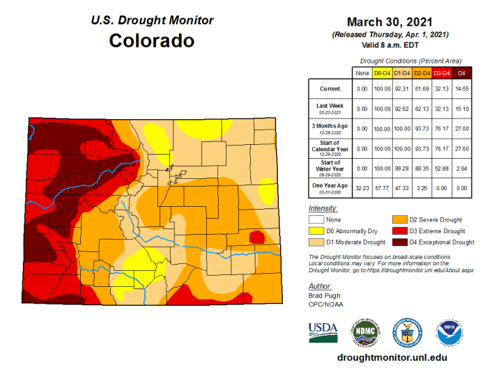 Colorado Drought Monitor March 30, 2021.