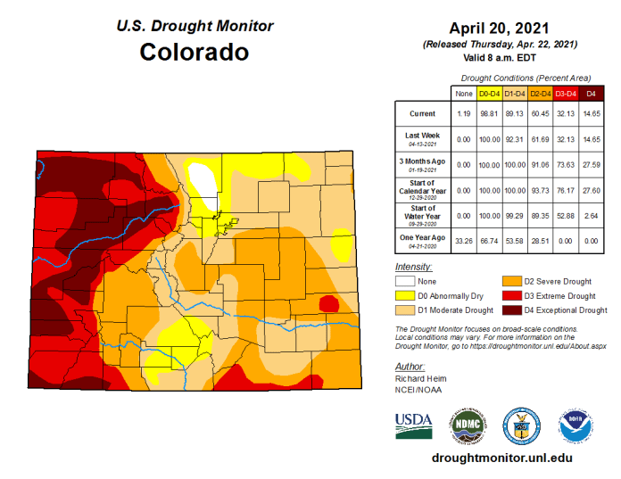 Colorado Drought Monitor April 20, 2021.