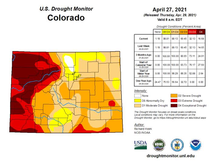 Colorado Drought Monitor April 27, 2021.
