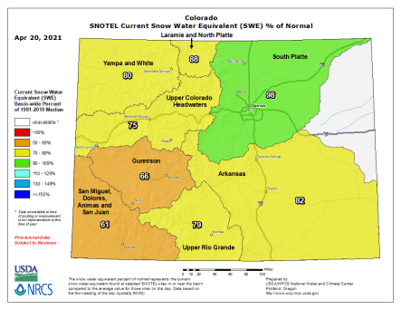 Colorado snowpack basin-filled map April 20, 2021 via the NRCS.