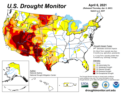 US Drought Monitor April 6, 2021.