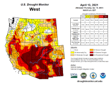 West Drought Monitor April 13, 2021.