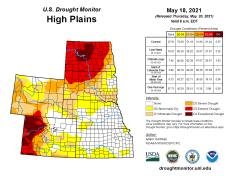 High Plains Drought Monitor map May 18, 2021.