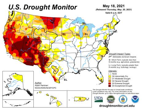 US Drought Monitor map May 18, 2021.