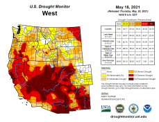 West Drought Monitor map May 18, 2021.