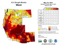 West Drought Monitor map May 25, 2021.