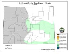 Colorado Drought Monitor one week change map ending June 1, 2021.