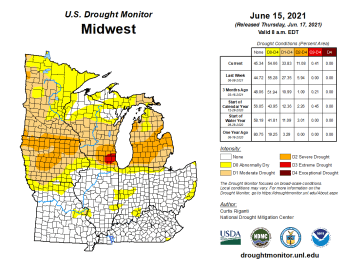 Midwest Drought Monitor map June 15, 2021.