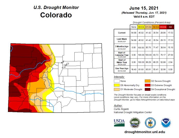 Colorado Drought Monitor map June 15, 2021.