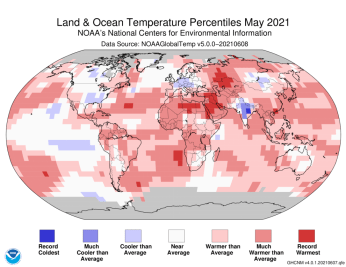 May 2021 Blended Land and Sea Surface Temperature Percentiles