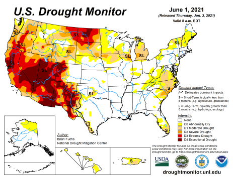 US Drought Monitor map June 1, 2021.