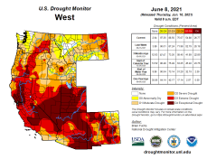West Drought Monitor map June 8, 2021.