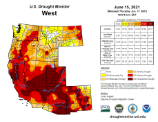 West Drought Monitor map June 15, 2021.