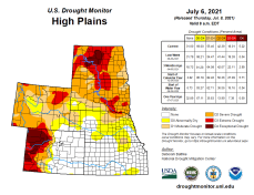 High Plains Drought Monitor map July 6, 2021.