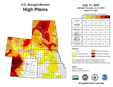 High Plains Drought Monitor map July 13, 2021.