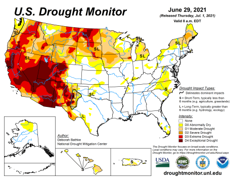 US Drought Monitor map June 29, 2021.