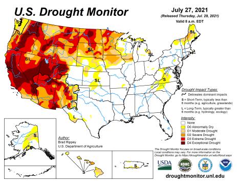 US Drought Monitor map July 27, 2021.