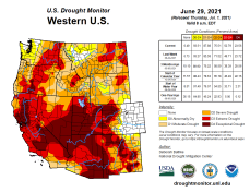 West Drought Monitor map June 29, 2021.