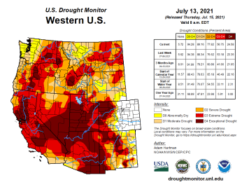West Drought Monitor map July 13, 2021.