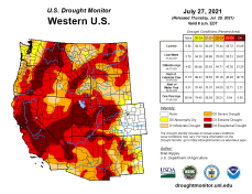 West Drought Monitor map July 27, 2021.