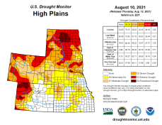 High Plains Drought Monitor map August 10, 2021.