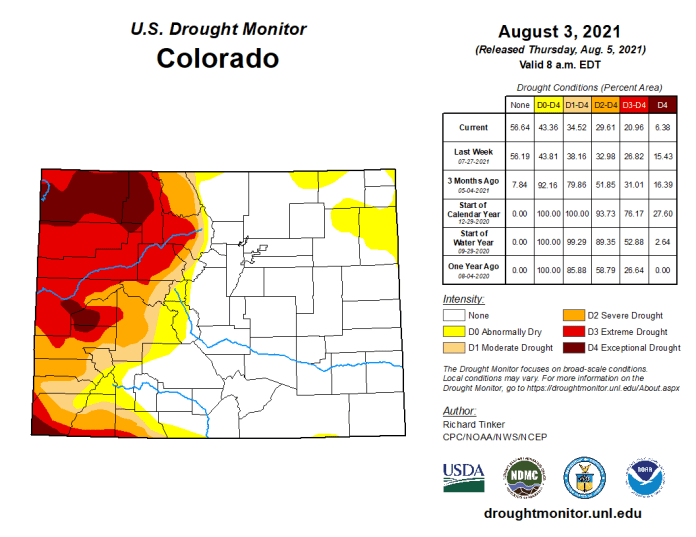 Colorado Drought Monitor map August 3, 2021.
