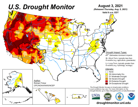 US Drought Monitor map August 3, 2021.