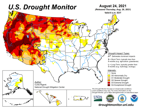US Drought Monitor August 24, 2021.